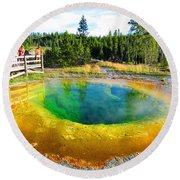 Colorful Yellowstone Round Beach Towel