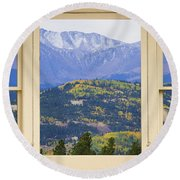 Colorful Rocky Mountain Autumn Picture Window View Round Beach Towel