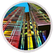 Colors In The City With Clouds Round Beach Towel