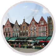 Colors Of Brugge Round Beach Towel