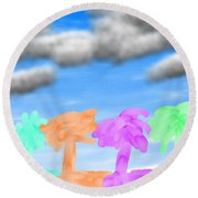 Colors Of The Palms Round Beach Towel
