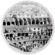 Colosseum In Rome Itlay - Interior - C 1904 Round Beach Towel