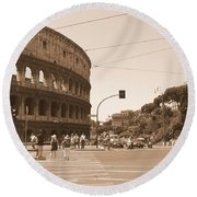 Colosseum In Sepia Round Beach Towel