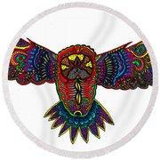 Coloured Owl Round Beach Towel