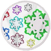 Coloured Snowflakes Isolated Round Beach Towel