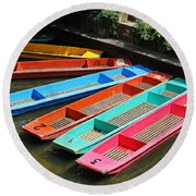 Colourful Punts Round Beach Towel