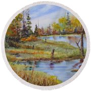 colours Of Elk Island Round Beach Towel