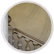 Column And Stairway At Wawel Castle In Krakow Poland Round Beach Towel