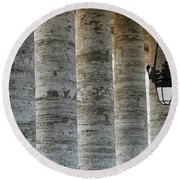 Columns And Hanging Lamp Round Beach Towel