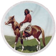 Comanche Brave Round Beach Towel by Frederic Remington