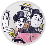 Comedians In Model T Round Beach Towel