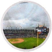 Comerica Park Home Of The Detroit Tigers Round Beach Towel