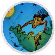 Comet Colliding With Earth Round Beach Towel