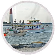 Coming Home - Barnegat Inlet Nj Round Beach Towel