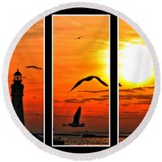Coming Home Sunset Triptych Series Round Beach Towel