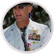 Command Master Chief Bryan Yarbro Round Beach Towel