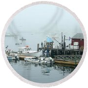 Commercial Lobster Dock Round Beach Towel