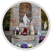 Comparison Mother Mary Shrine Round Beach Towel