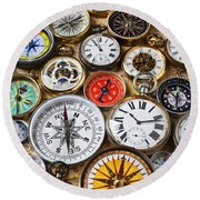 Compases And Pocket Watches  Round Beach Towel