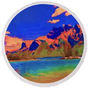 Complementary Mountains Round Beach Towel