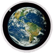 Composite Image Of Whole Earth Blue Round Beach Towel