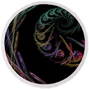 Computer Generated Abstract Fractal Flame Black Modern Art Round Beach Towel