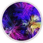 Computer Generated Blue Pink Abstract Fractal Flame Round Beach Towel