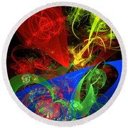 Computer Generated Blue Red Green Abstract Fractal Flame Modern Art Round Beach Towel