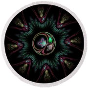 Computer Generated Flower Abstract Fractal Flame Modern Art Round Beach Towel