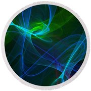 Computer Generated Green Blue Abstract Fractal Flame Modern Art Round Beach Towel
