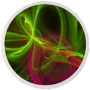 Computer Generated Green Magenta Abstract Fractal Modern Art Round Beach Towel