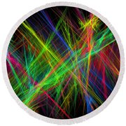 Computer Generated Lines Abstract Fractal Flame Black Background Round Beach Towel