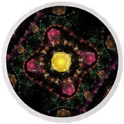 Computer Generated Pink Green Abstract Fractal Flame Black Background Round Beach Towel