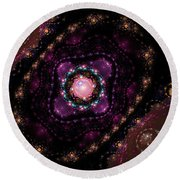 Computer Generated Pink Magenta Abstract Fractal Flame Black Background Round Beach Towel