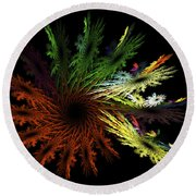 Computer Generated Red Yellow Green Abstract Fractal Flame Black Round Beach Towel