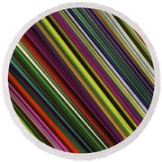 Computer Generated Stripe Abstract Fractal Flame Black Background Round Beach Towel