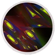 Computer Generated Triangles Abstract Fractal Flame Abstract Art Round Beach Towel