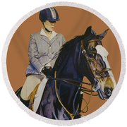 Concentration - Hunter Jumper Horse And Rider Round Beach Towel