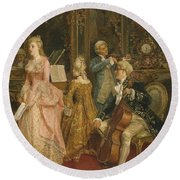 Concert At The Time Of Mozart Round Beach Towel by Ettore Simonetti