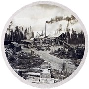 Concord New Hampshire - Logging Camp - C 1925 Round Beach Towel by International  Images