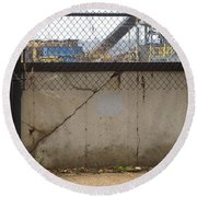 Concrete And Rusty Fence Round Beach Towel