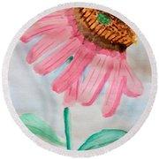 Coneflower - Watercolor Round Beach Towel