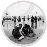 Coney Island Beach Goers - C 1906 Round Beach Towel