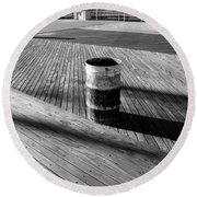 Coney Island Boardwalk In Black And White Round Beach Towel