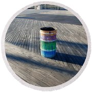 Coney Island Boardwalk Round Beach Towel