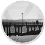 Coney Island Coast In Black And White Round Beach Towel