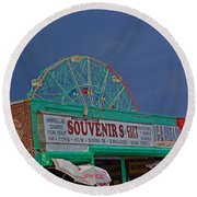 Coney Island Facades Round Beach Towel