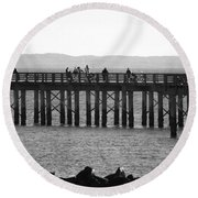 Coney Island Pier In Black And White Round Beach Towel
