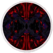 Conjoint - Crimson And Royal. Round Beach Towel