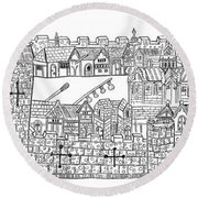 Constantinople, Procession At City Round Beach Towel